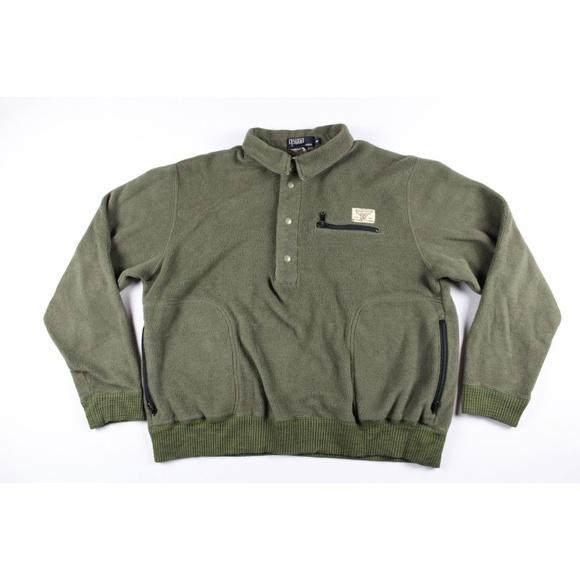 Vtg 90s Ralph Lauren Mens Fleece Sweater Size M